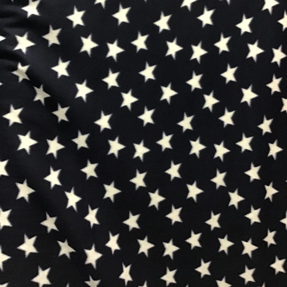 White Stars On Navy Anti Pill Fleece Fabric