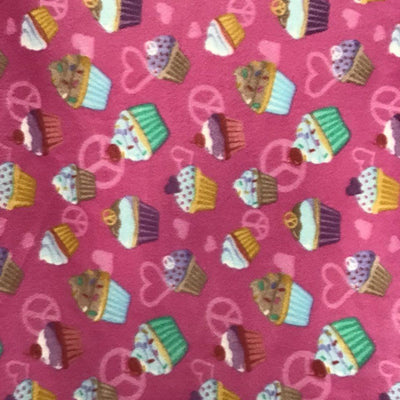 Sweet Cupcakes and Peace Sign Anti Pill Fleece Fabric
