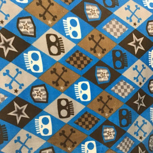 Skulls and Bones Blue Anti Pill Fleece Fabric