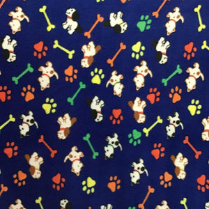 Paws and Dogs Bone on Navy Blue Fleece Fabric Prints