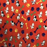 Paws and Dogs Bone on Red Fleece Fabric Prints