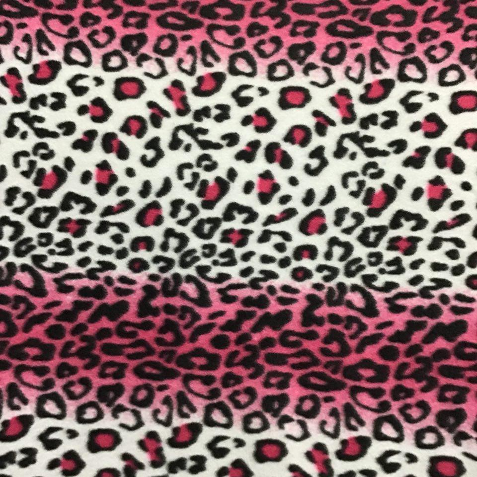 White Pink Leopard Animal Print Fleece Fabric