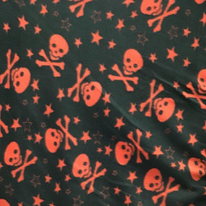 Red Skulls stars on Black Anti Pill Fleece Fabric