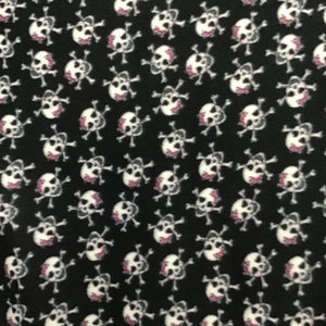 White Skulls on Black Anti Pill Premium Fleece Fabric