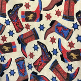 Western Boots Indian Fleece Fabric