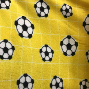 Soccer Yellow Net Anti Pill Print Fleece Fabric