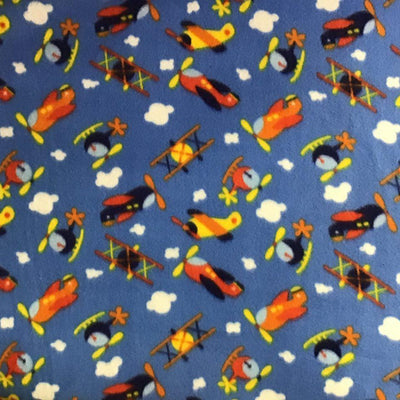 Helicopters & Airplanes Anti Pill Fleece Fabric