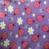 Red Pink Lady Bug on Violet Fleece Fabric