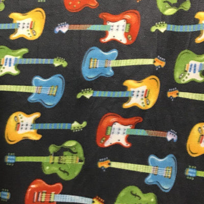 Rock star Colored Guitars on Black Anti Pill Fleece Fabric