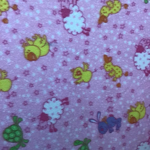 Mixed Animals on Pink Fleece Fabric