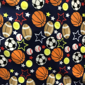Mixed Balls Stars on Black Fleece Fabric