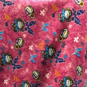 Monkey on Pink Fleece Fabric