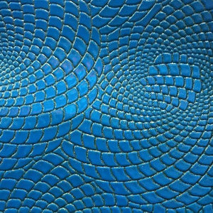 Blue Gold Hypnotic Spiral Sparkle PU Leather Fabric