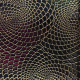 Black Gold Hypnotic Spiral Sparkle PU Leather Fabric