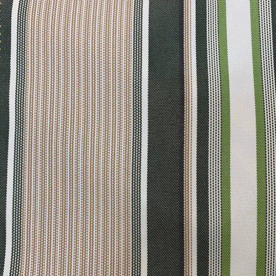 Green Multi Stripe Canvas Waterproof Outdoor Fabric