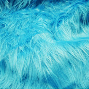 Light Turquoise Faux Fake Fur Solid Shaggy Long Pile Fabric