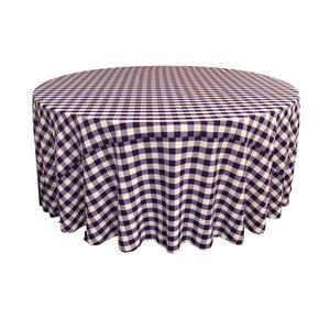 Purple Polyester Checkered Round 108""