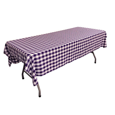 White Purple Gingham Checkered Polyester Rectangular Tablecloth 90
