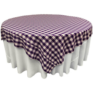 "White Purple Checkered Square Overlay Tablecloth Polyester 60"" x 60"""