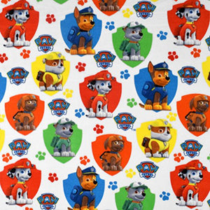 Nickelodeon Paw Patrol Shield White Fleece Fabric