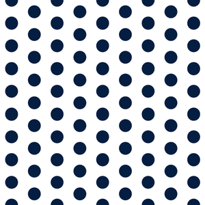 "1"" One Inch Navy Dots on White Poly Cotton Fabric"