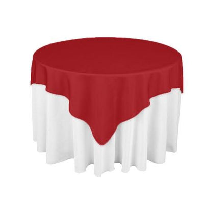 Red Square Overlay Tablecloth 60