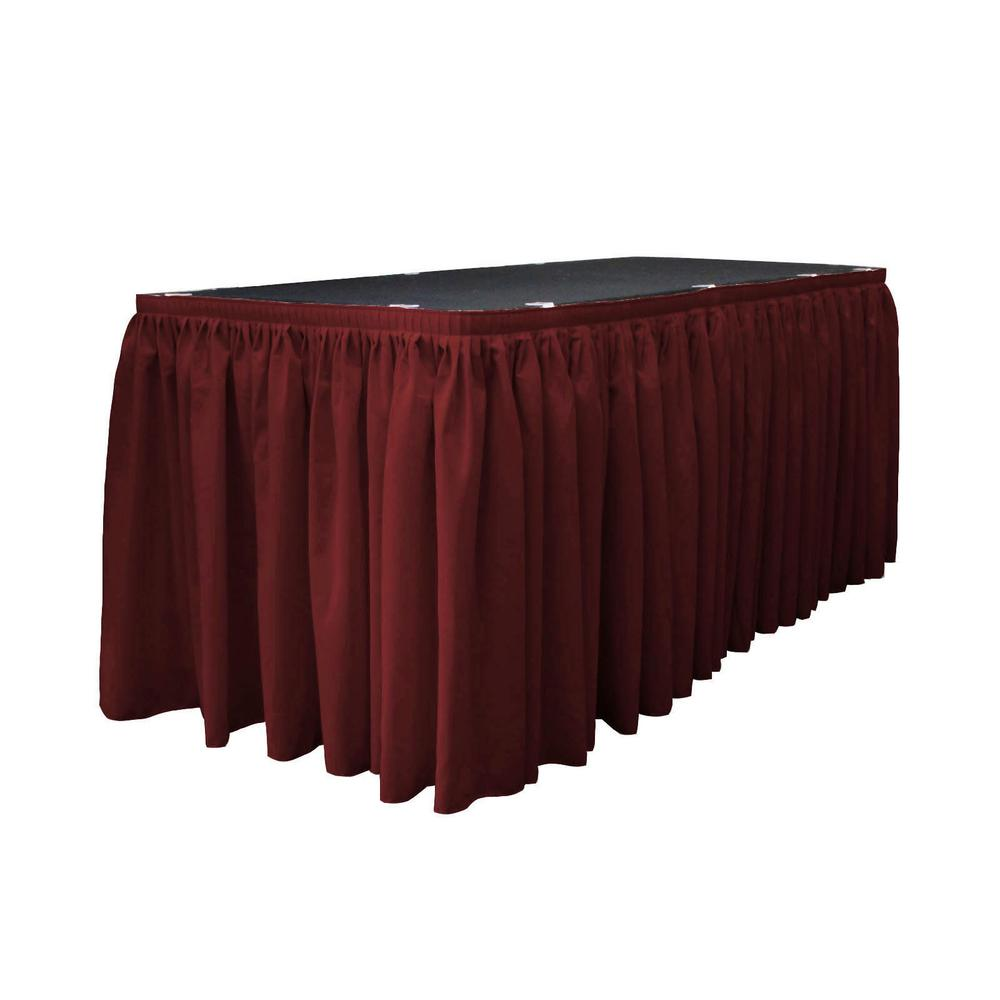 14 Ft. x 29 in. Burgundy Accordion Pleat Polyester Table Skirt