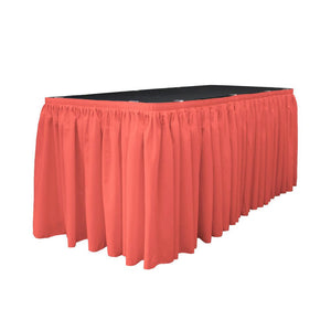 14 Ft. x 29 in. Coral Accordion Pleat Polyester Table Skirt