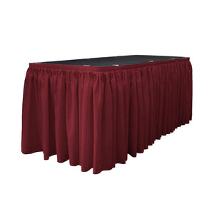 14 Ft. x 29 in. Cranberry Accordion Pleat Polyester Table Skirt