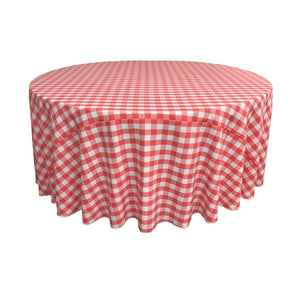 Coral Polyester Checkered Round 108""