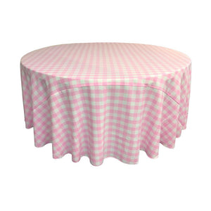 Pink Polyester Checkered Round 108""