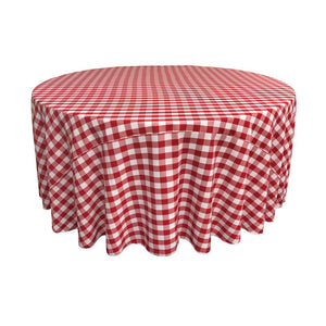 Red Polyester Checkered Round 108""