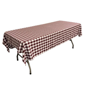 "White Burgundy Gingham Checkered Polyester Rectangular Tablecloth 60"" x 108"""