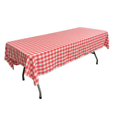 White Coral Gingham Checkered Polyester Rectangular Tablecloth 90