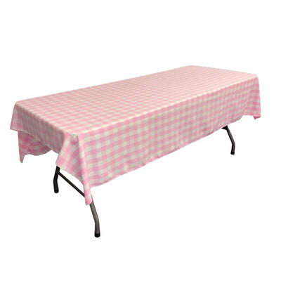 White Pink Gingham Checkered Polyester Rectangular Tablecloth 60