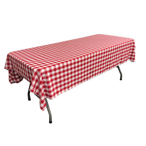 "White Red Gingham Checkered Polyester Rectangular Tablecloth 60"" x 108"""
