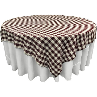 White Burgundy Checkered Square Overlay Tablecloth Polyester 85