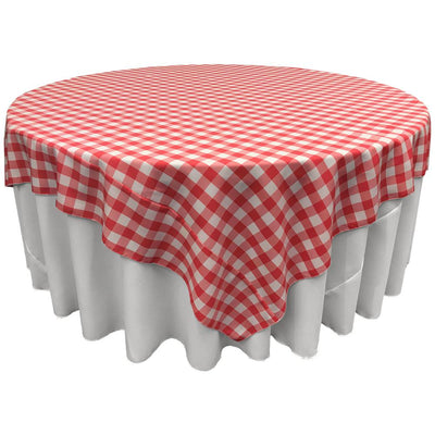 White Coral Checkered Square Overlay Tablecloth Polyester 85
