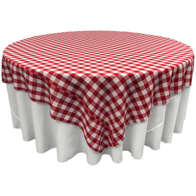 White Red Checkered Square Overlay Tablecloth Polyester 85