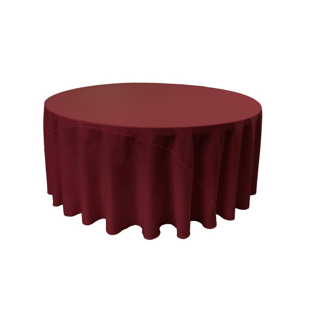 Burgundy 100% Polyester Round Tablecloth 108""