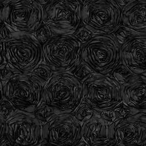 Rosette Satin Black Fabric