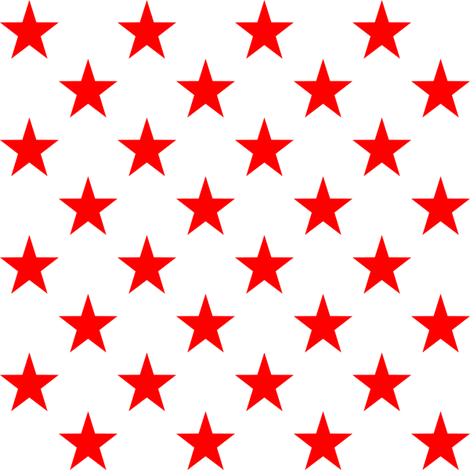 Red Stars on White Paisley Bandana Poly Cotton Fabric
