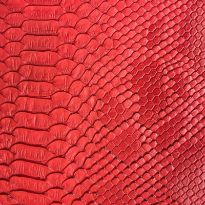 Red Faux Viper Sopythana Snake Skin Vinyl Fabric / 40 Yards Roll