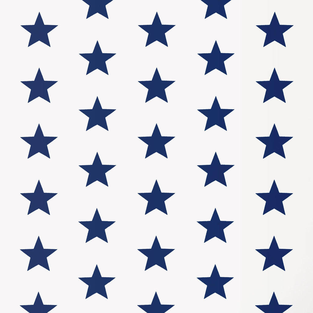 Navy Stars on White Paisley Bandana Poly Cotton Fabric