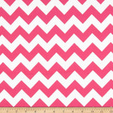 "1"" One Inch Pink and White Chevron Poly Cotton Fabric"