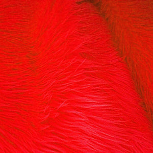 Fire Red Faux Fake Fur Long Pile Shaggy Fabric