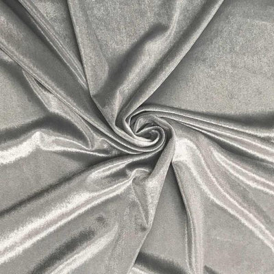 Silver Stretch Velvet Fabric / 60 Yards Roll