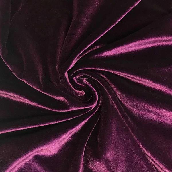 Plum Velvet Stretch Fabric