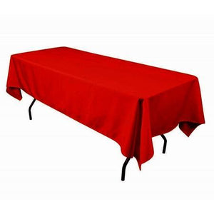 "Red 100% Polyester Rectangular Tablecloth 60"" x 126"""