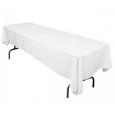 "White 100% Polyester Rectangular Tablecloth 60"" x 126"""